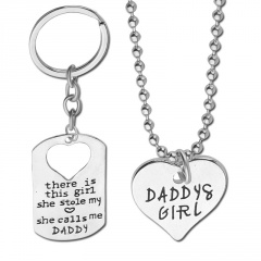 There Is This Girl She Stole My Love She Calls Me Daddy Lettering Necklace Keychain Pendant Necklace Set Lettering
