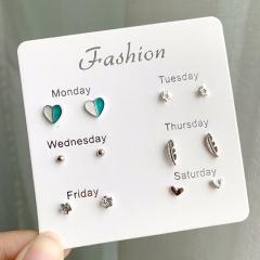 6 Pair/Set Fashion Girls Heart Pearl Ear Stud Earrings Snowflake Round Butterfly Earrings Set Heart Star