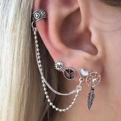 Vintage Boho Ancient Tibetan Silver Earrings Set Cross Heart Crown Stud Earrings for Women Jewelry Heart