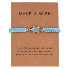 New Arrival Animal Charm Bracelets Blue Thread String Bracelet Owl Sea-star Fish Turtle Blue Bead Handmade Rope Bracelet Jewelry turtle