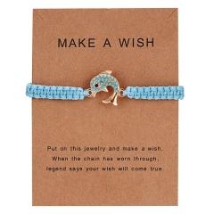 New Arrival Animal Charm Bracelets Blue Thread String Bracelet Owl Sea-star Fish Turtle Blue Bead Handmade Rope Bracelet Jewelry dolphin