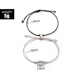 2pcs/set Bohemian Shell Heart Charm Bracelet Set 2pcs/set Retro Geometric Statement Female Glamour Fashion Jewelry Gifts 2pcs heart