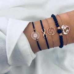 Bohemian Shell Map Bracelets Sets For Women Heart Moon Flower Charm Bracelet Vintage Fashion Chain Strand Bracelets Jewelry Gift 5pcs weave