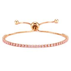 Rinhoo Fashion Round 2mm Cubic Zirconia Tennis Bracelet & Bangles For Women Gifts Luxury Bling Crystal Bracelet Bijoux 9 Colors PINK