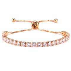 4mm Zirconia CZ Stone Bracelet Women Tennis Bracelets Female 1 Row Rhinestones Chain Bling Crystal Adjustable Bracelet Jewelry GOLD