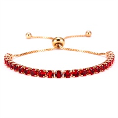 4mm Zirconia CZ Stone Bracelet Women Tennis Bracelets Female 1 Row Rhinestones Chain Bling Crystal Adjustable Bracelet Jewelry RED