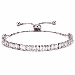 Fashion Women Tennis Bracelets Square Zirconia Link Chain Gold Silver Color 2mm Crystal Bangles Female Trendy Girls Jewelry SILVER