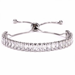 3mm CZ Crystal Tennis Bracelet Zircon Bracelet & Bangle Chains Crystal Gold Strand Bracelets For Women Female Jewelry Gift SILVER