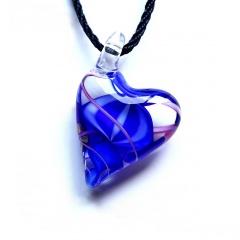 Trendy  Geometric Stripe Heart Murano Glass Flower Pendant Necklace Women Jewelry Gift Blue