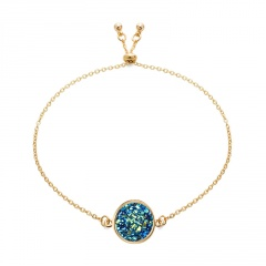 Rinhoo New Crystal Bracelet Simple Circular Cluster Bracelet Women Bling Natural Stone Bracelet Jewelry Party Accessaries BLUE