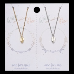 2Pcs/Set Fashion Stainless Steel Leaf Charm Pendant Necklace Lovers Card Jewelry Leaves