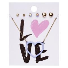 Stainless Steel Love Heart Flower Earrings Necklace Women Wedding Jewelry Set LOVE
