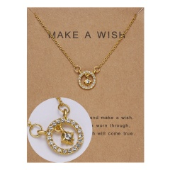 Paper card diamond long strip star pendant clavicle chain necklace NC18Y0493-G12