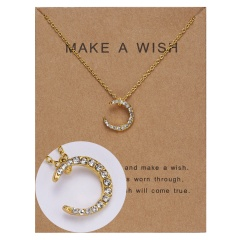 Paper card diamond long strip star pendant clavicle chain necklace NC18Y0493-G14