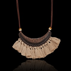 Women Boho Tassel Leather Rope Pendant Necklace Sweater Long Chain Jewelry Gift Beige