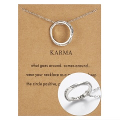Women Stainless Steel Engraved Words Family Ring Pendant Necklace Jewelry NEW mine