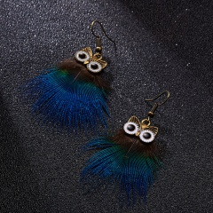 1Pair Fashion Animal Owl Feather Earrings for Women Jewelry owl peacock feathers