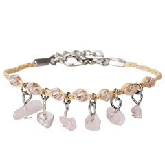 Natural Stone Bracelet Weave Colorful Stone Bracelets Handmade Boho Beads Bracelet Women Jewelry 7 Colors Bracelets Pink