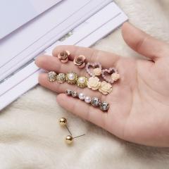 9Pairs/Set Cute Flower Heart Pearl Crystal Stud Earrings for Women Girl Jewelry Flower Stud Earring
