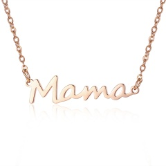 Mama Mother's Day Stainless Steel Alphabet Letter Pendant Necklace Rose Gold