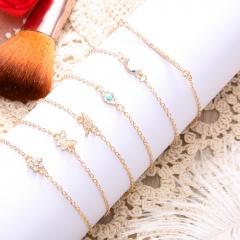 6pcs.set Bohemian Butterfly Leaf Eye Chatm Bracelet Set For Women Gold Color Link Chain Pendant Bangles Bracelet Femme Jewelry 6pcs/set