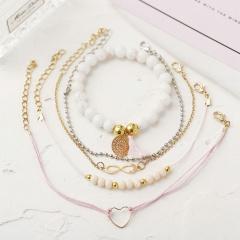 Rinhoo Boho Bangle Heart Shell Star Moon Inifinity 8 Crystal Bead Bracelet Women Charm Party Wedding Jewelry Accessories 5pcs infinity 8