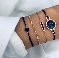 Rinhoo Bohemian Black Beads Chain Bracelets Bangles For Women Fashion Heart Compass Gold Color Chain Bracelets Sets Jewelry Gifts 4pcs black stone