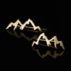 Cute Compass Leaf Peak Gold Stud Earrings for Women Girl Jewelry peak