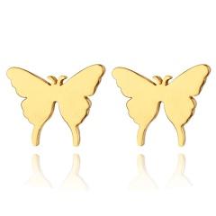 Cute Animal Guitar Stud Earrings Stainless Steel Heart Earrings for Girl Fashion Jewelry Butterly