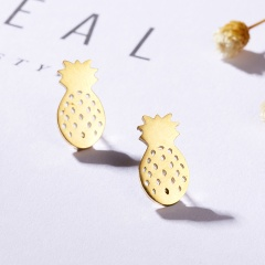 Stainless Steel Pineapple Map Stud Earrings for Women Fashion Jewelry pineapple