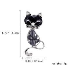 Rinhoo Pearl Rhinestone Lovely Cat Brooch Party Jewelry Crystal Enamel Pin Black Animal Brooch Pins Dress Decoration Accessories black