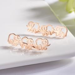 Cute Animal Stud Earrings Three Small Elephant Earrings for Women Girl rose gold