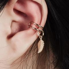 1Pcs U-shaped Leaf Single Ear Buckle Ear Clip Punk Earrings Gold