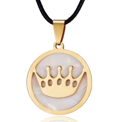 Fashion Gold Stainless Steel Shell Leather Pendant Necklace Women Jewelry Gift Crown