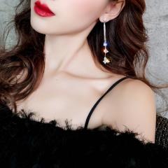 1Pair Luxury Crystal Butterfly Long Tassel Earrings for Bride Wedding Jewelry Butterfly