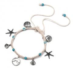 Bohemian Green Stone Beads Anklets for Women Seashell Charm Ankle Bracelet Adjustable Foot Leg Bracelet Foot Jewelry Gift Anklet 3