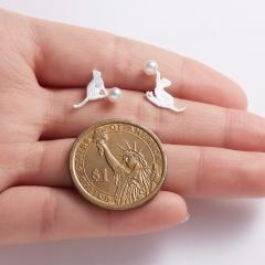 Cute Cat Animal Stud Earrings Women Jewelry Cat