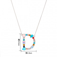 Women Colorful Crystal Initial Alphabet Letter A-Z Pendant Necklace Jewelry Gift D