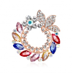 Rinhoo New Design Alloy Rhinestone Brooches Graceful Flower Shape Women Suit Scarf Buckle Colorful Hats Scarf Jewelry Gifts Pin Flower5