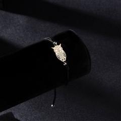 New Arrival Rope Bracelet Alloy Hollow Owl Animal Charm Bracelet Handmade Jewelry Rope Bracelet Lovers Gifts for Women Black