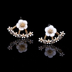 Flower inlaid with rhinestones back hanging type front and rear earrings (size 1.3*2cm) daisy