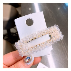 geometric square crystal handmade side clip BB clip one word hairpin hair ornament White