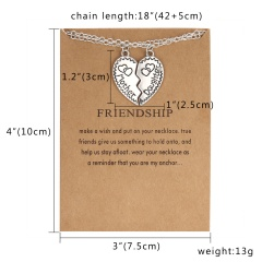 Best Friends Heart Ring Crystal Pendant Splice Necklace Friendship Card Jewelry mother daughter