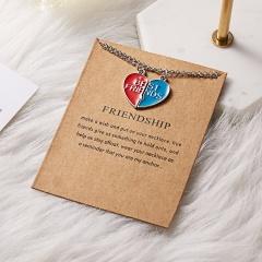 Best Friends Heart Ring Crystal Pendant Splice Necklace Friendship Card Jewelry BEST FRIENDS