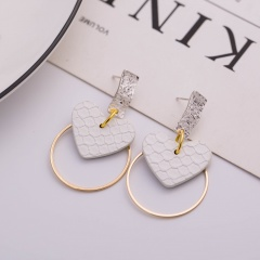 Fashion Geometric Heart Circle Hollow Dangle Earrings for Women Jewelry White