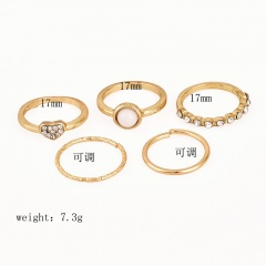 12Pcs/Set Silver Gold Boho Arrow Moon Flower Midi Finger Knuckle Rings Jewelry 5pcs-Heart  Pearl
