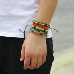 5pcs/ set  Vintage Black Multi-layers Handmade Braided Leather Bracelet & Bangle For Men Fashion Bangles Father's Day Gifts BRACELET 2
