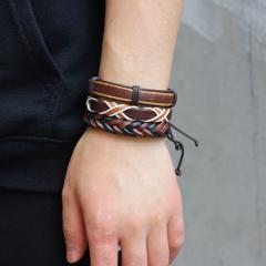 5pcs/ set  Vintage Black Multi-layers Handmade Braided Leather Bracelet & Bangle For Men Fashion Bangles Father's Day Gifts 6PCS ADJUSTABLE