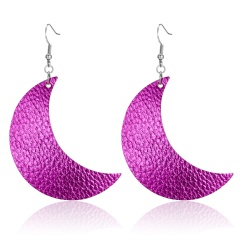 Fashion Moon Leather Dangle Earrings for Women Girl Jewelry Gifts Purple