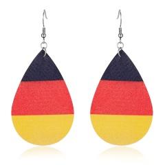 Charm Women American Flag Waterdrop Leather Earrings Dangle Drop Jewelry Fashion DE